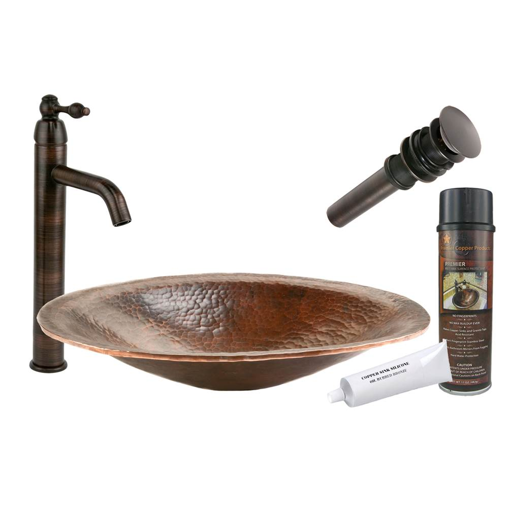 Premier Copper Products  Bathroom Sink And Faucet Combos item BSP1_PVOVAL20
