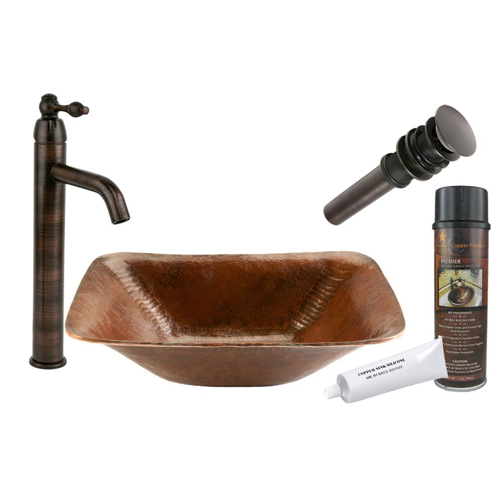 Premier Copper Products  Bathroom Sink And Faucet Combos item BSP1_PVREC17
