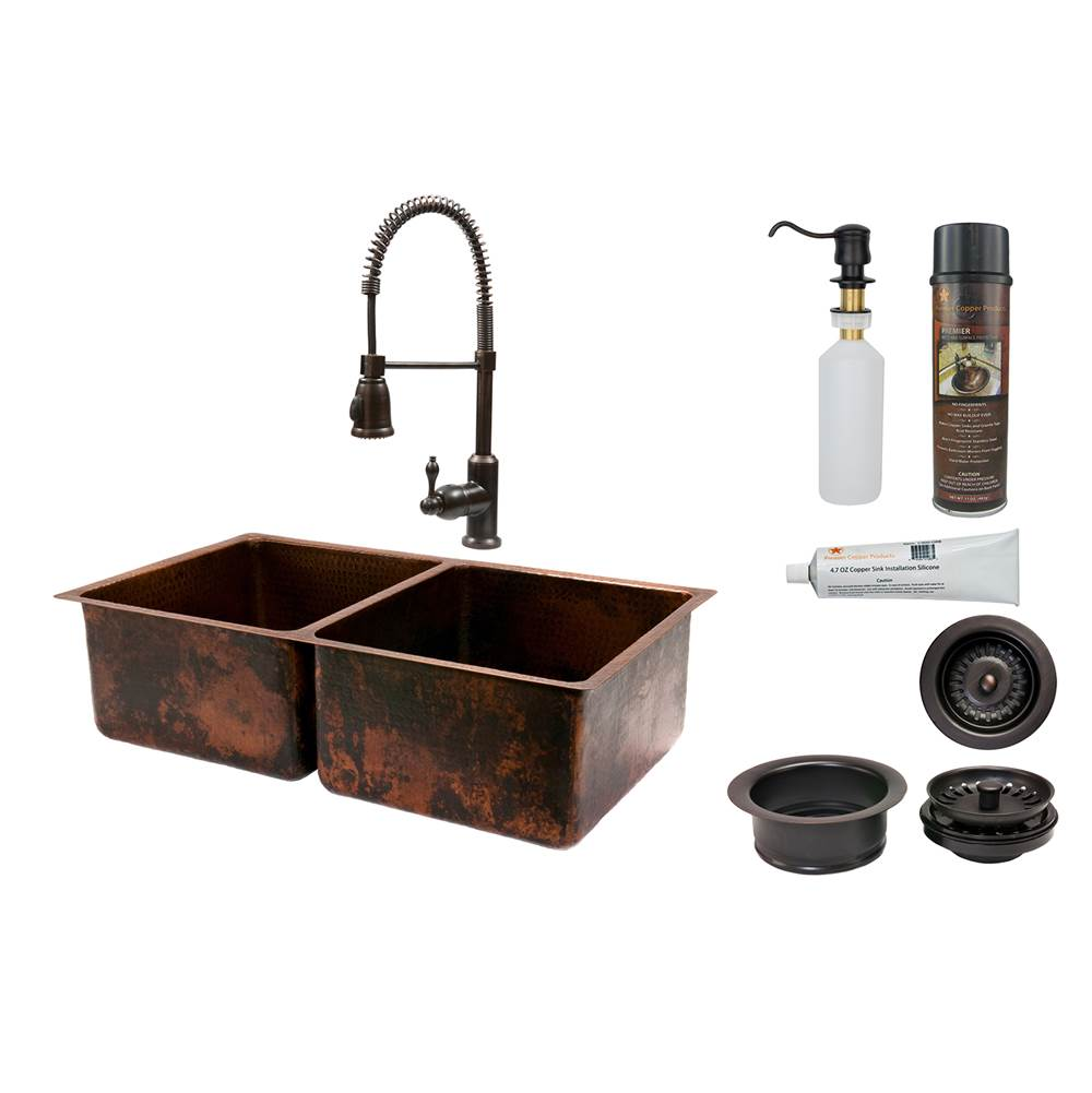 Premier Copper Products Undermount Kitchen Sink And Faucet Combos item KSP4_K50DB33199