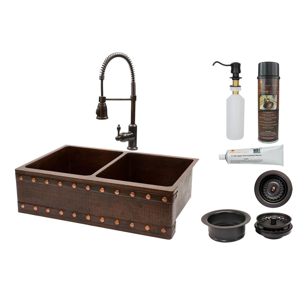 Premier Copper Products Farmhouse Kitchen Sink And Faucet Combos item KSP4_KA50DB33229BS