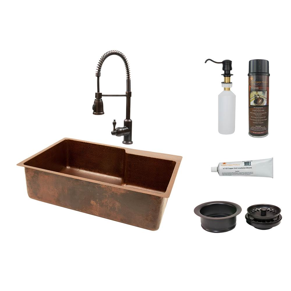 Premier Copper Products Undermount Kitchen Sink And Faucet Combos item KSP4_KSFDB33229